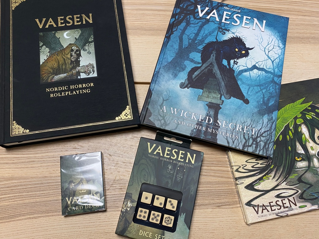 A display of Vaesen, a Nordic horror role playing game.